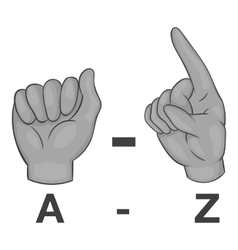 Language of gestures icon gray monochrome style vector