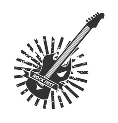 rock fest logotype with colorless guitar on white vector image
