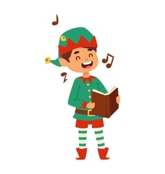 Santa Claus kid cartoon elf helper vector image vector image