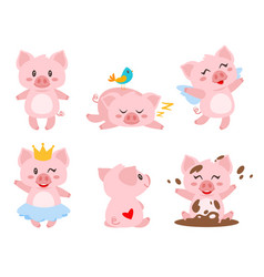 set of cute pink pig vector image