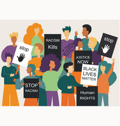 A peaceful crowd protest against racism vector