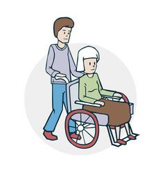 An elderly woman and a nurse vector