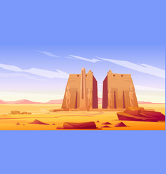 Ancient egyptian temple with statue and obelisk vector