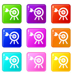 Arrow hit the target icons 9 set vector