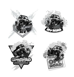 Atv off-road buggy black and white logo vector