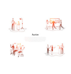 auction - people selling and buying artworks vector image