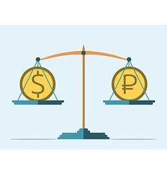 Balance dollar and ruble vector image