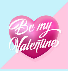 be my valentine mint and pink hearts gentle vector image