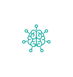 blue line brain with hub system icon intellect vector image