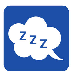 Blue white sign - zzz speech bubble icon vector