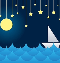 boat at sea waves moon and star vs vector image