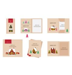 Brand identity Christmas house retro vector