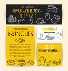 breakfast banners or posters for menu design vector image