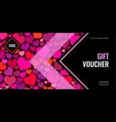 bright gift voucher with color hearts on vector image