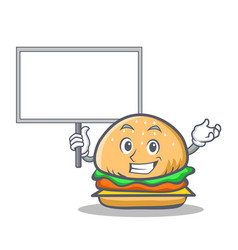Bring board burger character fast food vector
