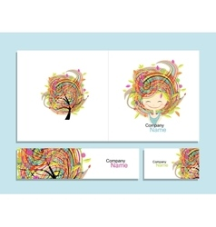 Business cards floral girl for your design vector