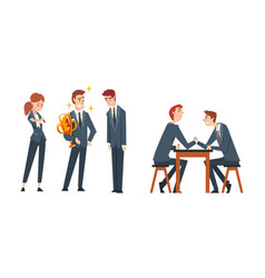 business competition and rivalry with man arm vector image