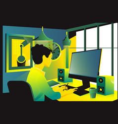 Businesswoman sitting on her workplace in the vector