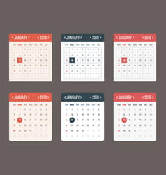 calendar template for application starts sunday vector image