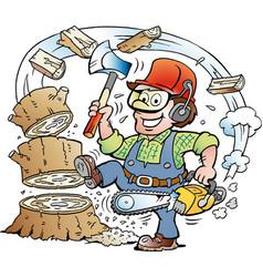 Cartoon of a happy working lumberjack vector