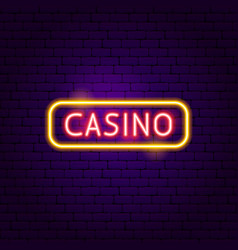 casino sign neon label vector image