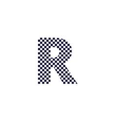 Checker pattern logo letter r vector