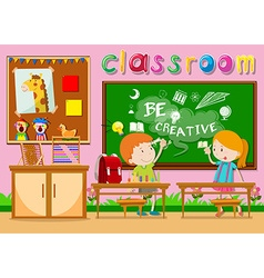 Children studying in the classroom vector