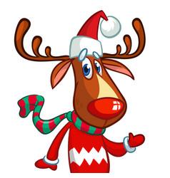 christmas reindeer in santa claus hat vector image