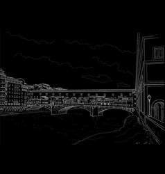 cketch old bridge vector image