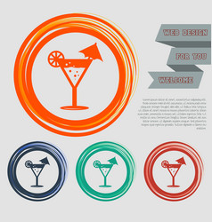 cocktail party martini icon on the red blue green vector image