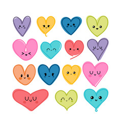 collection cute hand drawn kawaii hearts heart vector image