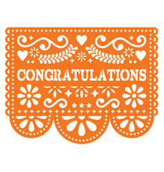 Congratulations papel picado design vector