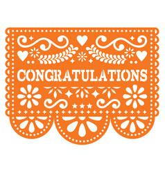 Congratulations papel picado design vector