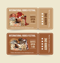 Cowboy ticket design with scarf hat money boots vector