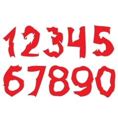 Curved red Numbers vector