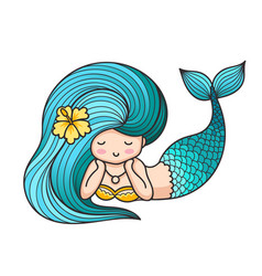 Cute lying dreamy mermaid with blue hair vector