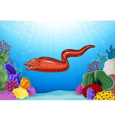 Cute Moray eel with Coral Reef Underwater in Ocean vector image