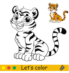 Cute sitting tiger coloring with colorful template vector