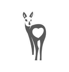 Deer in minimalism style icon flat monochrome vector image