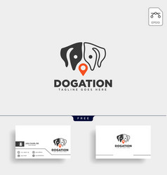 Dog Pet Animal Pin Location Logo Template Icon Vector