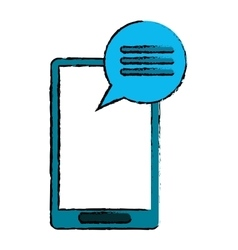 Drawing blue smartphone communication bubble vector