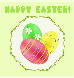 easter greeting with green red yellow painted vector image