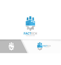 factory and gear logo combination industry vector image