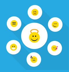 flat icon emoji set of grin hush angel and other vector image