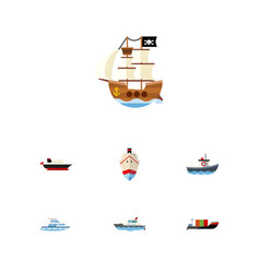 flat icon ship set of boat delivery vessel and vector image