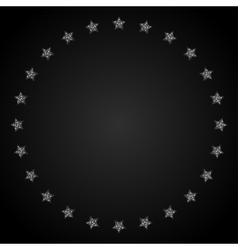 Frame Silver Sequin Stars Around Circle vector
