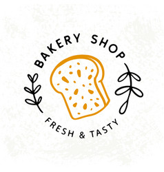 fresh bread bakery logotype badge label vector image