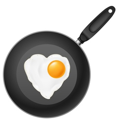 frying pan with heart-shaped fried egg on white vector image