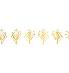 gold foil tree silhouette seamless border vector image