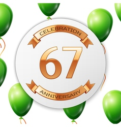 Golden number sixty seven years anniversary vector